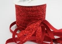 Бархатная лента с люрексом 1см красный - Материалы для канзаши (фурнитура)
