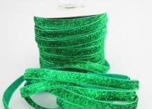 Бархатная лента с люрексом 1см зеленая - Материалы для канзаши (фурнитура)