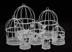 Клетка для декора белая с птичкой 19 см - Инструменты для канзаши